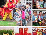 Hampton School pupils celebrating the Year of the Rooster